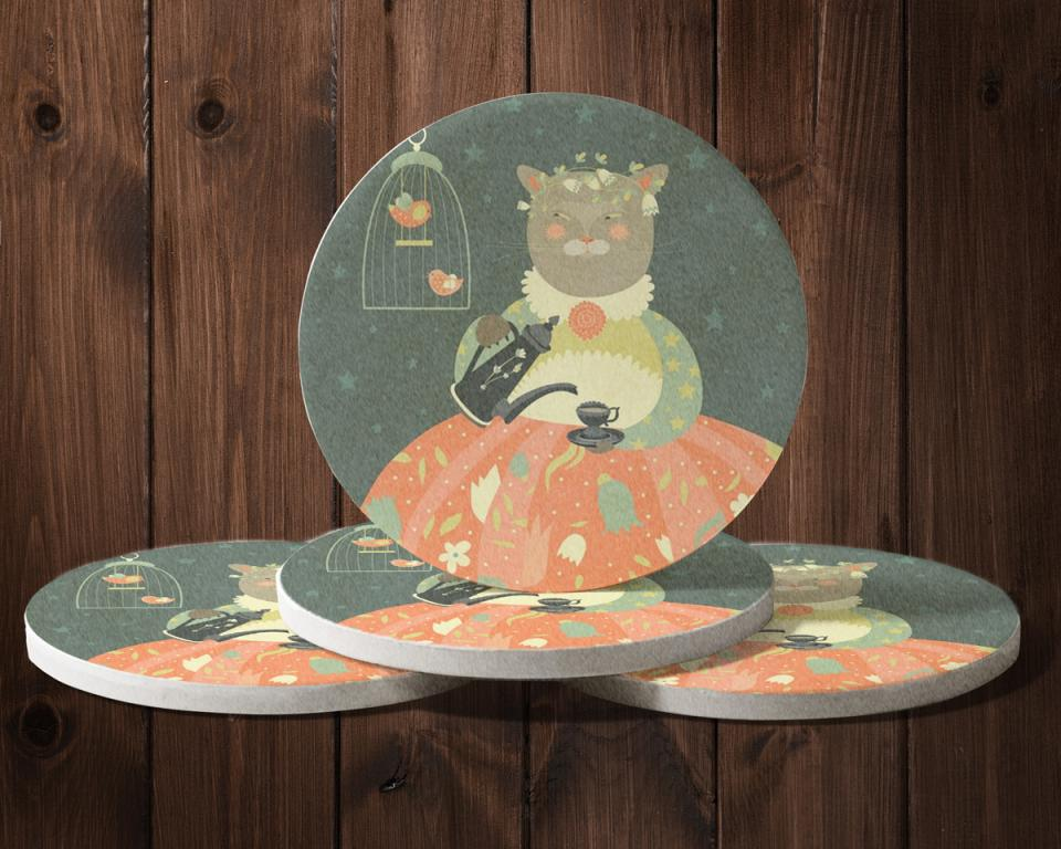 圓形陶瓷吸水杯墊製作,便宜優質的吸水杯墊印刷服務-捷可印